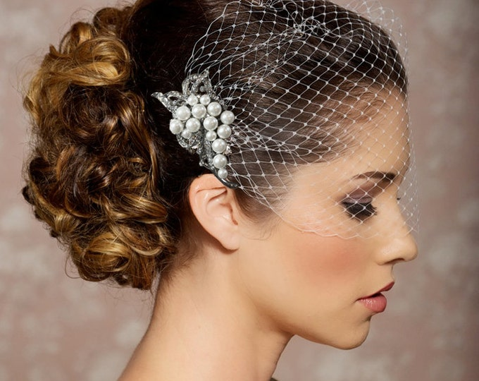 Bridal Veil and Bridal Comb, Bandeau Birdcage Veil, Bird Cage Veil - QUICK SHIPPPER - With Pearl and Crystal Comb in Gold or Silver