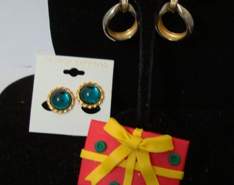 Lot of jewelry - 2 earrings & one christmas pin -- ONE PRICE FOR all , please See description for details