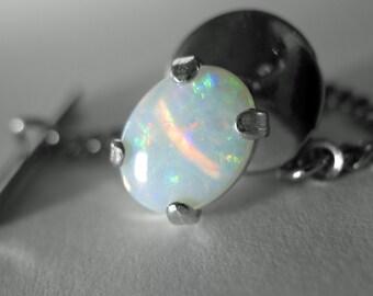 Australian Opal Tie Tack in Silver, 9 x 7 mm