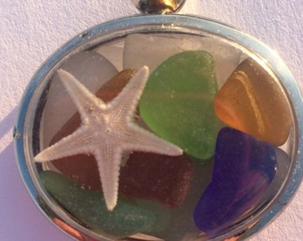 Sea Glass Locket Authentic Jersey Shore Sea Glass Necklace
