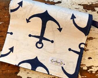 Minky Baby Blanket - Navy Anchors - Baby Boy - Nautical Sea