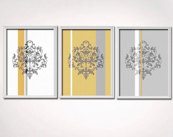 Mustard Yellow and Gray Grey Damask Art prints - 3-piece set, unframed