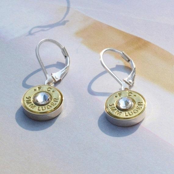 9mm bullet dangle earrings sterling silver by