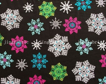 C160 - 1 meter  Cotton Fabric - Colorful Crystals, snoflower (145cm width)