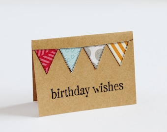 BULK 48 Birthday Card Set, CHOOSE White or Kraft, Assorted Bunting, Hand Stamped, 3x4 Inch Heavy Card Stock