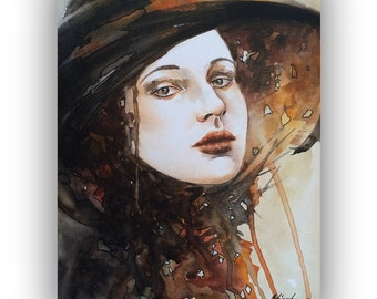 """ORIGINAL watercolor portrait painting - Still Thinking of You -  lady in hat, brown, old times, brown, sepia, vintage - 11,8"""" x 15,7"""""""