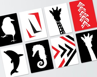 Black, White and Red 12 Printed Contrast Art Cards: 8 x 10 inches