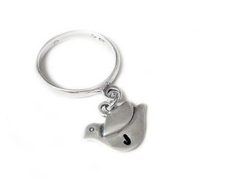 Bird Ring - Flicky Ring - Sterling Silver Initial Personalized Dangle Charm Ring