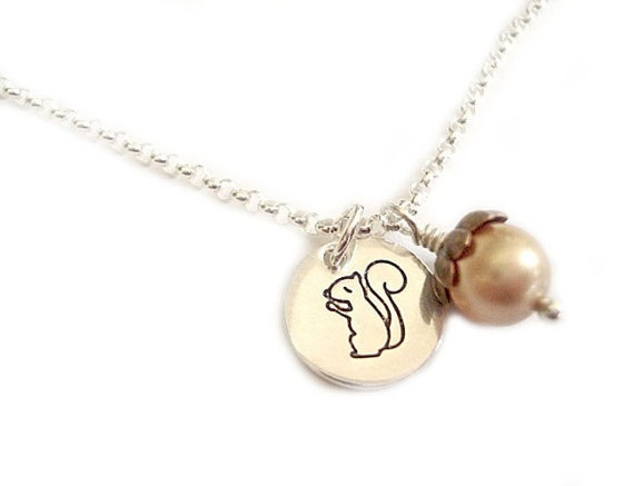 Little Squirrel With An Acorn - Tiny Circle Pendant Sterling Silver - Handstamped Jewelry -