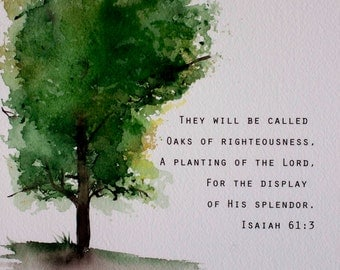 Oak tree watercolor painting. Green gold and brown with Bible verse