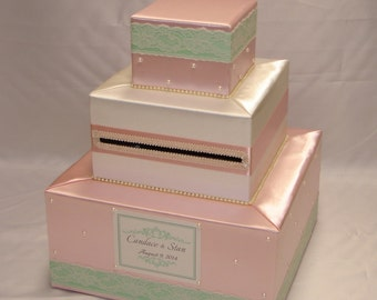 Blush Pink/Ivory/Mint Card Box- Pearl and Lace accents-any colors