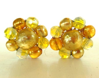 Vintage Glass Clip Earrings Mustard Yellow Beaded 50's (item 188)