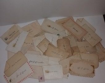 10 antique Victorian calling cards with printed names damaged old scrap paper mixed media supplies lot vintage ephemera