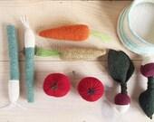 panier de légumes de laine - wool veggie kit  pretend food