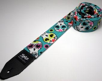 CALAVERA Day of the Dead handmade double padded guitar strap - Sugar Skulls - Calaca