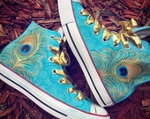 Peacock Converse - Custom Airbrushed Converse Sneakers