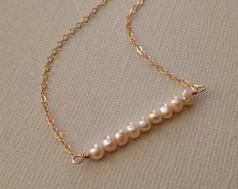 Tiny Pearl Necklace in Gold -June Birthstone Necklace