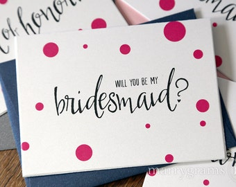 Cute Be My Bridesmaid Cards, Maid of Honor, Flower Girl, Matron of Honour, Bridesman - Will You, Ask Bridal Party Wedding Party Pink Single