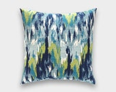 CLEARANCE Ikat Decorative Pillow Cover. 18X18 Inches. Teal, Navy, Aqua Cushion Cover. Craze Frost.