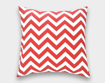 CLEARANCE 50% OFF Red Chevron Pillow Cover 20X20 Inches Accent Pillow. Christmas Red and White.