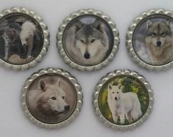 Wolves bottle cap magnets
