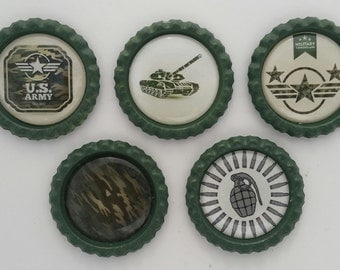 National guard, Army men,army, soldier, camouflage, refrigerator magnet,  bottle cap magnets