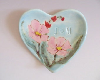 ring dish, wedding ring holder, Personalized Wedding Gift, Hand Painted Heart Plate, Fine Art, Made to Order