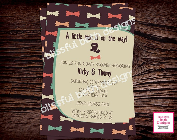 LITTLE HIPSTER BABY, Bow Tie Boy Baby Shower Invitation, Hipster Baby Boy, Bow Tie Boy Baby Shower, Hipster Baby Shower, Hipster Baby