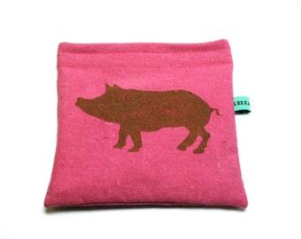 Reusable Snack Bag - Reusable Sandwich Bag - Hand Dyed Pink with Brown Pig