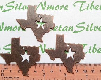 3 pcs per pack 50mm Large Smooth Texas State Cut out Pendant Antique Copper Finish Lead Free Pewter