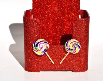 Lollipop Brochure Holder.  Glitter.  Lollipops.  Candy.  Candy Store.  Candy Shop.  Bling.  Red.