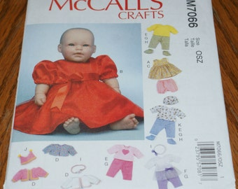 "New McCall's Doll Clothes Pattern For 11"" 12"" 15"" and 16"" Baby Dolls M7066"