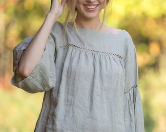Pure Linen Blouse Laced Boho blouse Hippie Blouse
