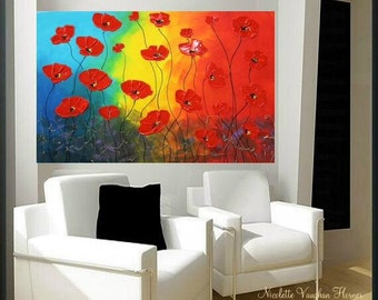 """Original 36"""" gallery canvas Abstract painting,Original contemporary Red Poppies,lots of texture by Nicolette Vaughan Horner"""
