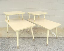 2 Mid Century 2 Tier Step Back Side Tables - Retro Atomic End Tables Peg Legs - Rare Blonde Color - American retro