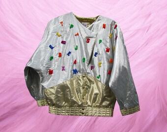Metallic Silver Alphabet Batwing Gold Disco Crazy Jacket