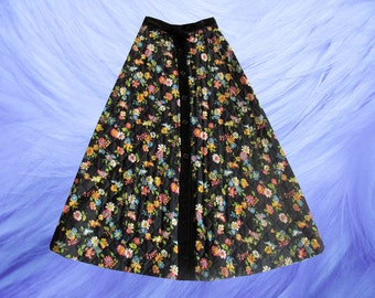 Floral Quilted Prairie Hippie Bohemian Puffy Flared Maxi Cord Skirt
