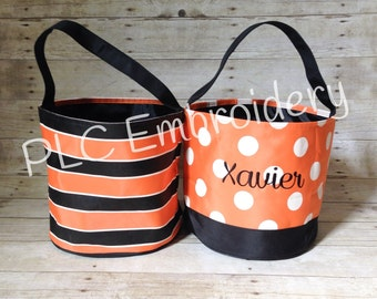 Embroidered Trick or Treat Tote - Halloween Bucket - Personalized Bag - Custom Halloween Tote - Embroidered Bucket