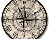 Compass Rose with old map pattern wall CLOCK - beachy and antique home decor - 7131