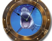 PORTHOLE pattern wall CLOCK - copper color - many other underwater or outer space designs LOOK