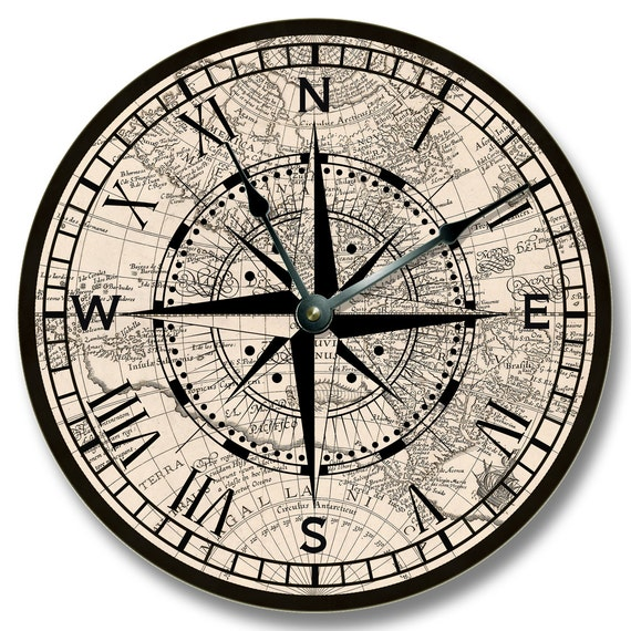 compass rose with old map pattern wall clock beachy and
