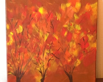 Original Abstract Acrylic Fall Trees Painting