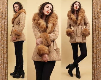 60s 70s Vtg Incredible Red FOX Fur Collar + Cuff Cardigan Ribbed KNIT Sweater Coat / Speckled Fully Lined Jacket / GLAM Boho Hippie Mod