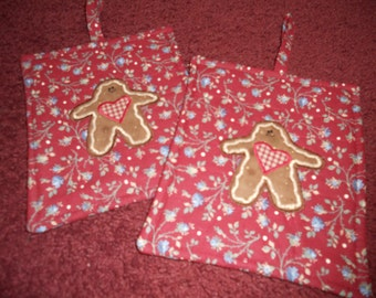 Primitive Whimsical Country GINGERBREAD PATCH Potholders Hot Pads Trivets