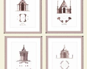 "Garden Temple Architecture Prints, Set of Four Architectural Prints, 8"" x 10"" with a 10% Discount, Brown Bronze Sepia Color, Housewarming."