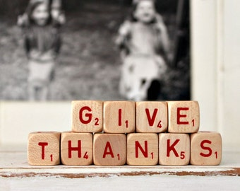 vintage letter cube words GIVE THANKS