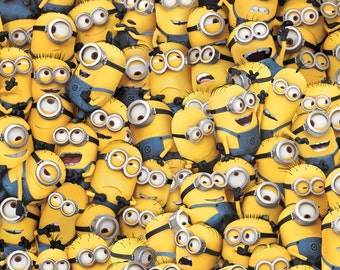 ONE IN A Minion-by the half yard by Qt fabrics-packed minions~yellow blue- 23989-S
