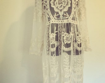 Forget Me Not Embroidered Lace Kaftan Dress, Bohemian style, One size fits all, size Small Medium Large, Ivory, Valentine's Day outift