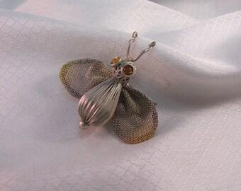Vintage Sarah Cavendar Metal Works Moth Brooch