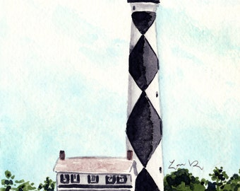 Cape Lookout Lighthouse Giclee Print of Watercolor Painting Outer Banks Light House Ocean Coastal Nautical North Carolina Travel